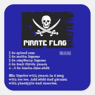 海賊旗の飲み物のレシピ スクエアシール