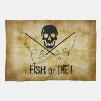 海賊旗の魚はまたはタオル死にます キッチンタオル