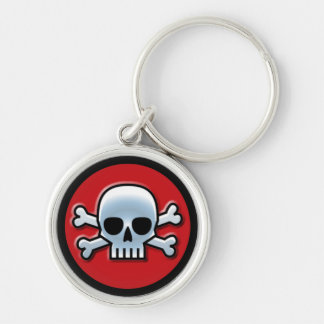 「海賊旗」の赤 シルバーカラー丸型キーホルダー