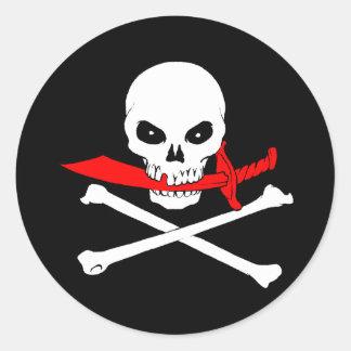 海賊旗(カットラス)のステッカー ラウンドシール