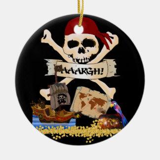 海賊旗、海賊船及び海賊の箱 セラミックオーナメント