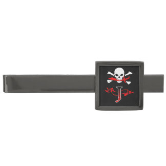 海賊旗Jのモノグラムのイニシャルのタイ・バー ガンメタル タイバー