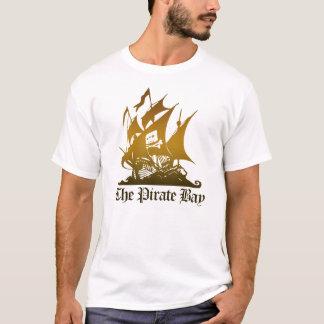 海賊湾のブラウンのロゴのティー Tシャツ