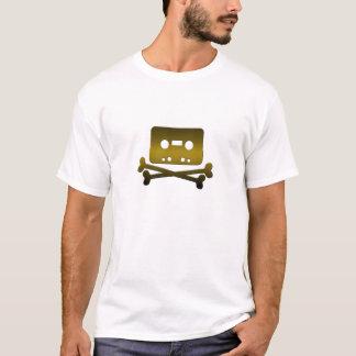 海賊湾のブラウンの骨が交差した図形のロゴのティー Tシャツ