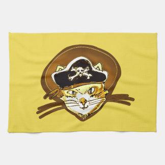 海賊猫の漫画のスタイルのおもしろいなイラストレーション キッチンタオル