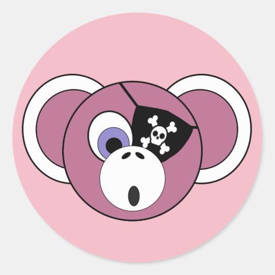 海賊猿のピンクのガーリーなジャングル動物のEyepatch ラウンドシール