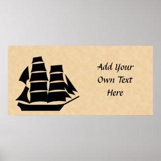 海賊船。 帆船 ポスター
