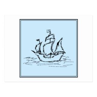海賊船。 淡いブルー。 ポストカード