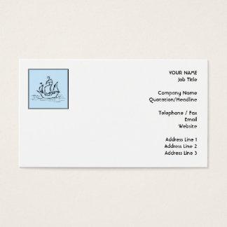 海賊船。 淡いブルー。 名刺