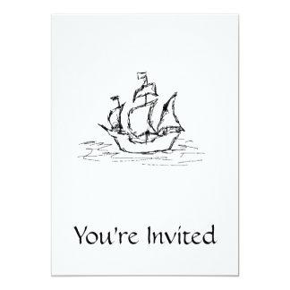 海賊船。 白黒。 カード