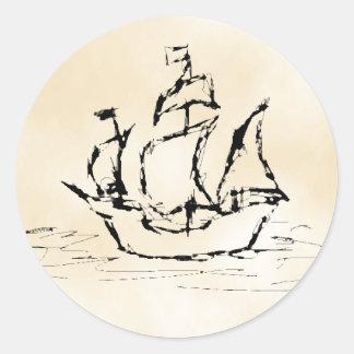海賊船。 羊皮紙パターン背景 ラウンドシール