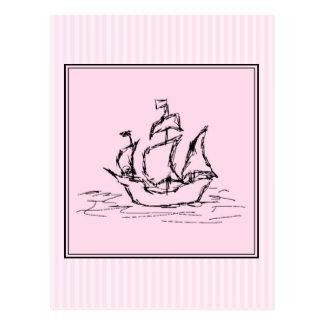 海賊船。 黒およびピンク ポストカード