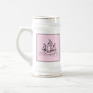 海賊船Galleon。 黒およびピンク ビールジョッキ