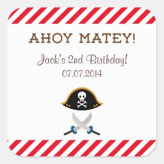 海賊誕生日はステッカー感謝していしています スクエアシール