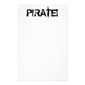 海賊! グランジなフォントのスローガン。 白黒。 便箋