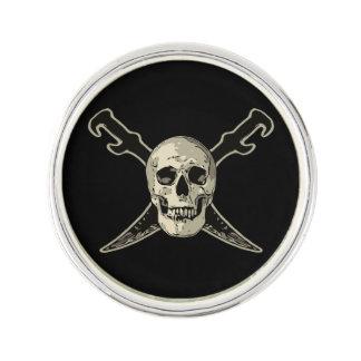 海賊(スカル) -円形のラペルピンは、めっきされたに銀を着せます ラペルピン