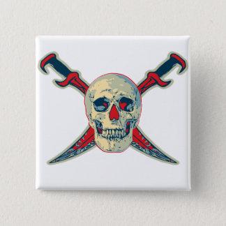 海賊(スカル) - 2インチ正方形ボタンの 缶バッジ