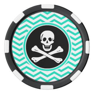 海賊; 水緑のシェブロン ポーカーチップ