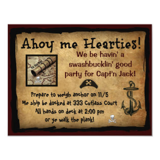 海賊Ahoy私Hearties! パーティーの招待 カード