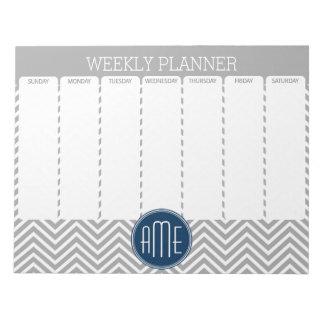 海軍およびシェブロン灰色のパターン週間プランナー ノートパッド