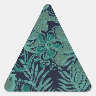 海軍およびターコイズのろうけつ染めパターン 三角形シール