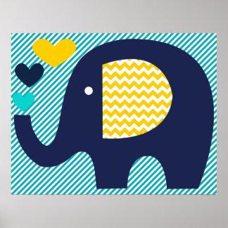 海軍およびティール(緑がかった色)象の子供部屋ポスター ポスター