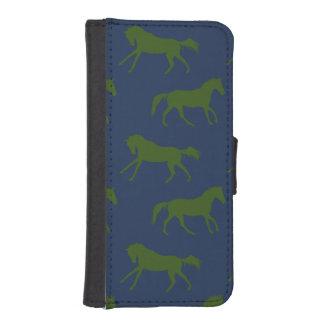 海軍およびハンターの疾走する馬パターン iPhoneSE/5/5sウォレットケース
