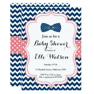 海軍およびピンクの弓ベビーシャワーの招待状 カード