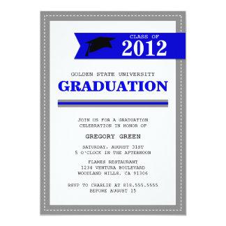 海軍および灰色のプレッピーな卒業の招待状 カード