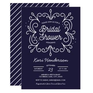 海軍および白いスクロールブライダルシャワーの招待状 カード