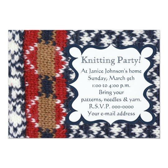 海軍および白人の編み物のパーティー 12.7 X 17.8 インビテーションカード