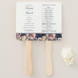 海軍および藤色の水彩画の花の結婚式プログラム ハンドファン