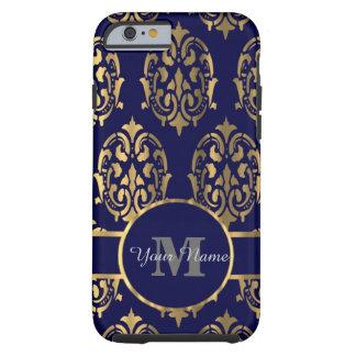 海軍および金ゴールドのダマスク織のモノグラム iPhone 6 タフケース