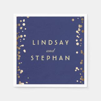 海軍および金ゴールドの紙吹雪の点の結婚 スタンダードカクテルナプキン