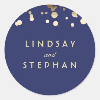 海軍および金ゴールドの紙吹雪の結婚式 ラウンドシール