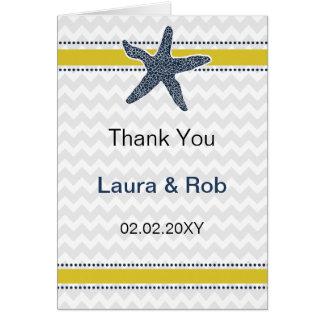 海軍および黄色いヒトデのビーチ結婚式の文房具 カード