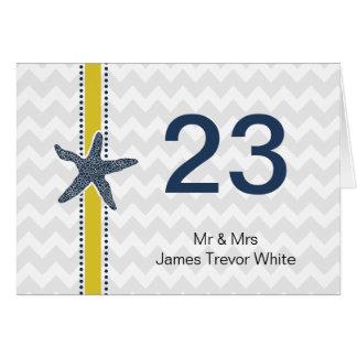 海軍および黄色いヒトデのビーチ結婚式の文房具 ノートカード