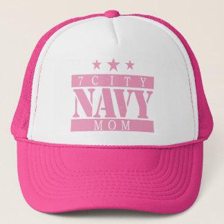 海軍お母さん-ピンクのロゴ キャップ
