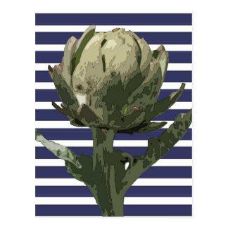 海軍のアーティチョークは縞で飾ります ポストカード
