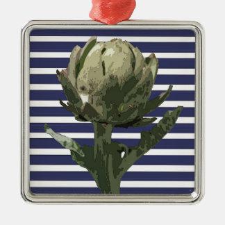 海軍のアーティチョークは縞で飾ります メタルオーナメント