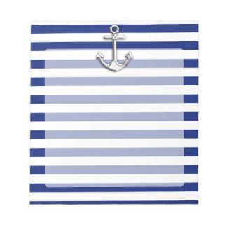 海軍のクロムいかりは縞で飾ります ノートパッド