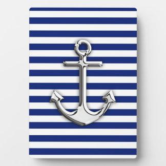 海軍のクロムいかりは縞で飾ります フォトプラーク