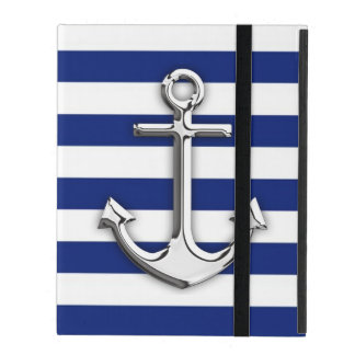 海軍のクロムいかりは縞で飾ります iPad ケース