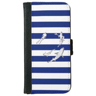 海軍のクロムスキューバダイバーのプリントは縞で飾ります iPhone 6/6S ウォレットケース