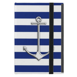 海軍のクロムスタイルの薄いいかりは縞で飾ります iPad MINI ケース