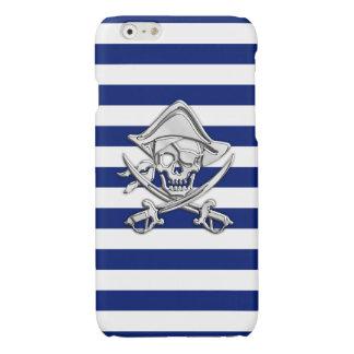 海軍のクロム海賊骨が交差した図形のプリントは縞で飾ります