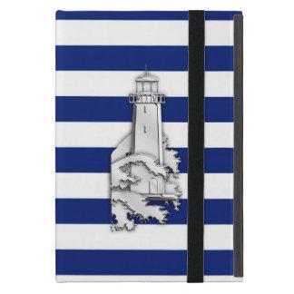 海軍の灯台のような銀製のクロムは縞で飾ります iPad MINI ケース