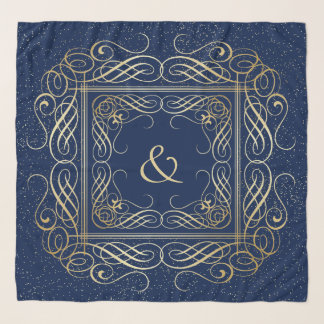 海軍の金ゴールドホイルの一見のScrollworkのエレガントな原稿 スカーフ