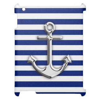 海軍の銀製のスタイルのいかりは縞で飾ります iPadカバー