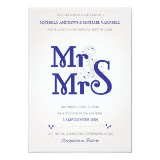 海軍のAmperstandの花の結婚式招待状 カード
